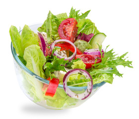 Fresh tasty salad on white background