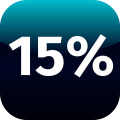 15 percent icon or button in blue and black