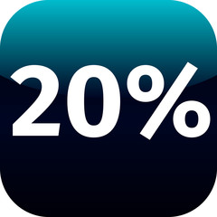 20 percent icon or button in blue and black
