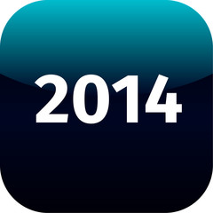 year 2014 blue and black icon