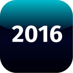 year 2016 blue icon