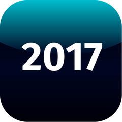 year 2017 blue icon