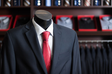 men's business suit on a dummy