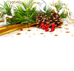 Christmas tree branch with gold serpentine and cones on white ba