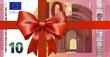 10 Euroschein neu mit breiten Geschenkband