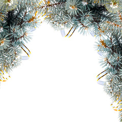 Christmas fir branch with gold streamers and stars on a white ba