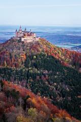 Castle Hohenzollern at sunrise in autumn