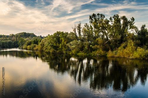 canvas print picture Herbstliche Flusslandschaft bei Muehlheim Ruhr
