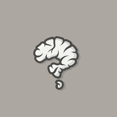Brain in shape of question mark