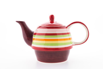 Colorful tea pot isolated on white background