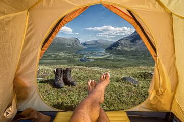 Tent lookout over Rautasjaure