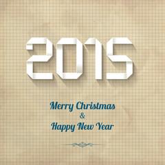 2015 Happy New Year Origami Long Shadow Caro Vintage