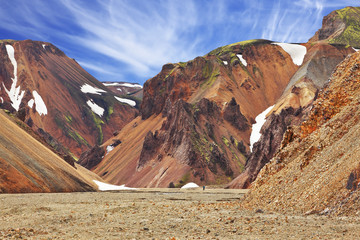 The smooth mountains in Icelandic reserve