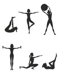 Fitness girls silhouette