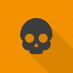 Minimal Halloween background. Skull. Flat design