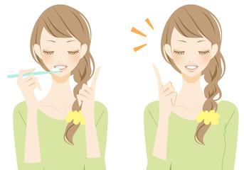 歯を磨く女性 ポイントを表現