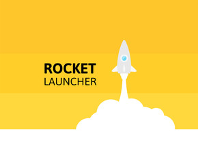 Yellow rocket and white cloud, icon in flat style, vector