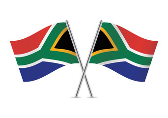 South African flags. Vector illustration.