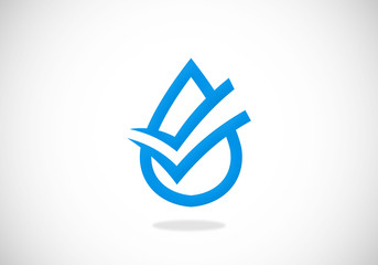 clean water check mark vector logo