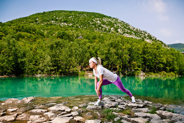 Fitness Woman. Stretching outdoor