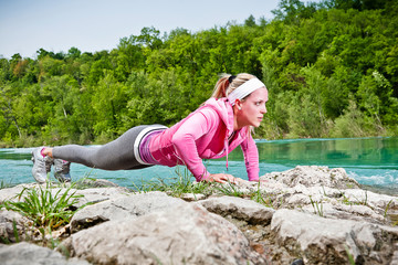 Fitness Woman. Push-ups outdoor
