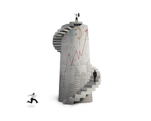 group of people with doodles concrete spiral staircase tower