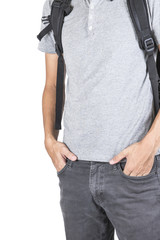Boys backpack on a white background