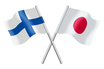 Flags: Finland and Japan