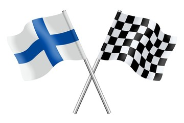 Flags: Finland and checkerboard