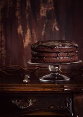 Delicious vegan chocolate cake. Selective focus.