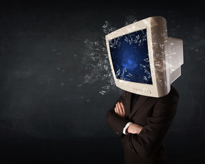 Computer monitor screen exploding on a young persons head