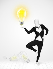 Man in full body with glowing light bulb