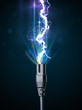 Electric cable with glowing electricity lightning