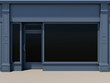 Classic shopfront with large windows and door in the left. - 71128966