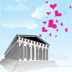 Greece acropolis with heart symbol of valentines day.