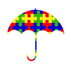 Autism umbrella puzzle pieces