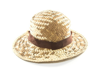 Straw Woven Hat with Brown Band isolated on white background
