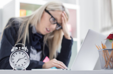 Stressful woman can't finish job on time