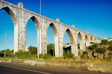 historic aqueduct in the city of Lisbon built in 18th century