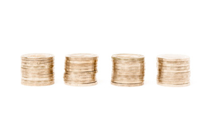 row of coins on white background