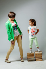 Mom and daughter with books
