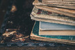 canvas print picture - Close up of vintage books. Selective focus.
