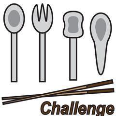 vector quote sign chopstick challenge