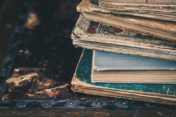Close up of vintage books. Selective focus.