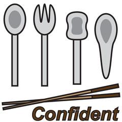 vector quote sign chopstick confident