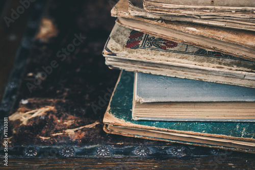 canvas print picture Close up of vintage books. Selective focus.
