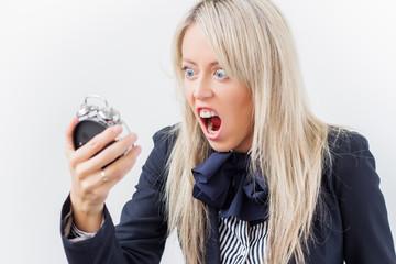 Woman yelling on alarm clock