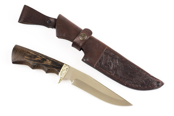 Hunting knife and leather case