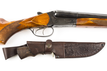 Hunting rifle and knife in leather case