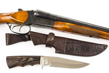 Hunting rifle, knife and leather case